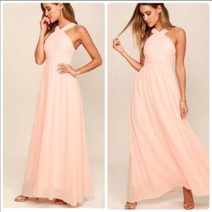 Lulu's Air of Romance Halter Maxi Dress Large